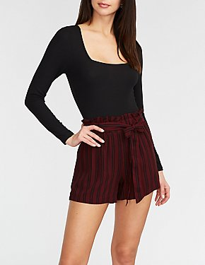Striped Front Tie Paperbag Shorts
