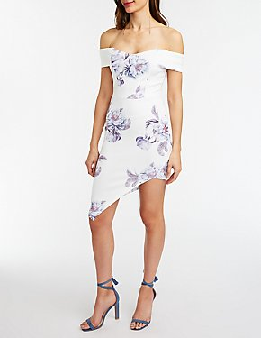 Floral Asymmetrical Off The Shoulder Dress