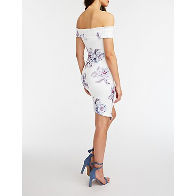 Floral Asymmetrical Off The Shoulder Dress