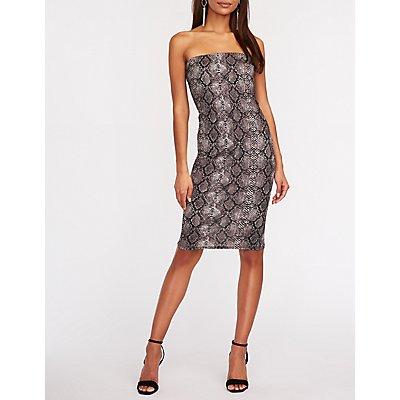 Snakeskin Tube Bodycon Dress