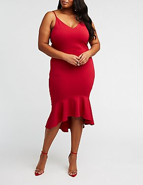 Plus Size Hi Low Midi Dress