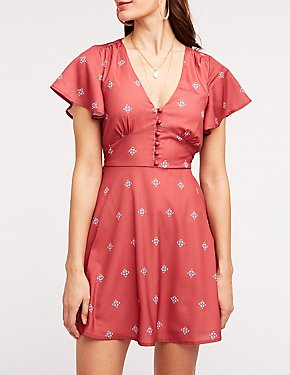 Patterned Flutter Sleeve Skater Dress