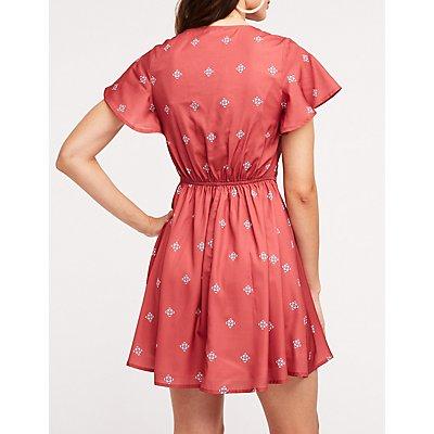 Patterned Flutter Sleeve Skater Dress