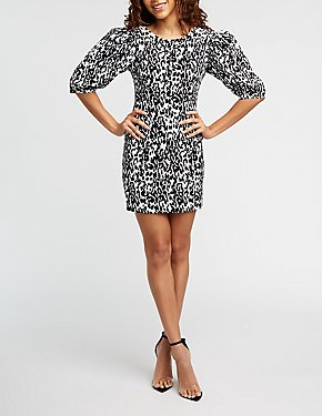 Leopard Three Quarter Sleeve Bodycon Dress