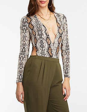 Snakeskin Cut Out Wrap Bodysuit