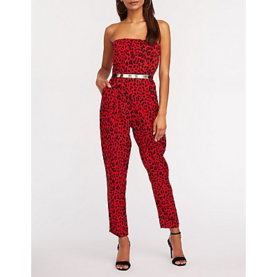 Leopard Print Metal Belt Jumpsuit