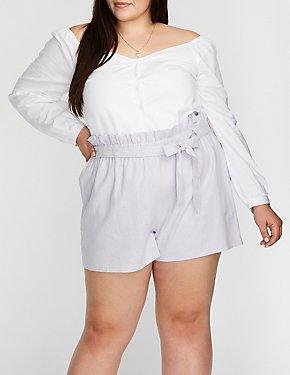 Plus Size Linen Paperbag Shorts