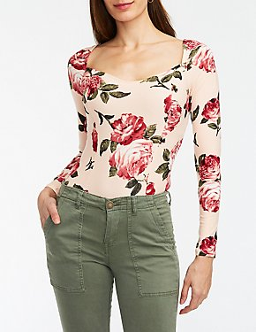 Floral Sweetheart Neck Bodysuit