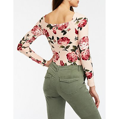 Floral Sweetheart Neck Bodysuit
