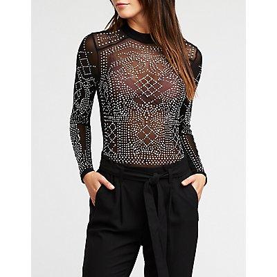 Studded Mesh Bodysuit