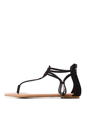 Faux Suede T Strap Sandals