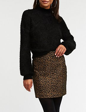 Metallic Leopard A Line Skirt