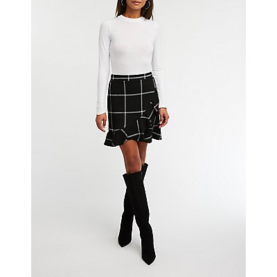 Windowpane Ruffle Trim Tulip Skirt