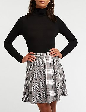 Glen Plaid A Line Skirt