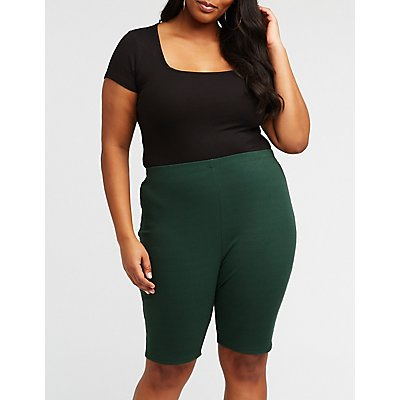 Plus Size Ribbed Bike Shorts