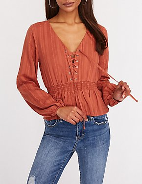 Lace Up Smocked Top