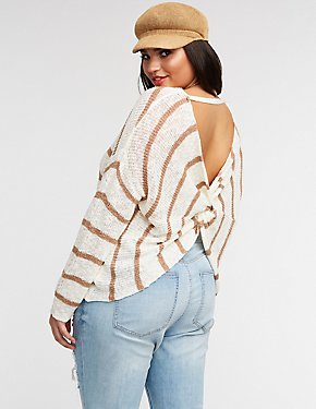 Plus Size Striped Twist Back Pullover Sweater