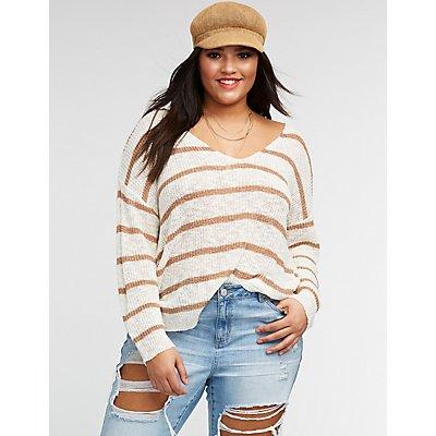 Plus Size Striped Twist Back Pullover Sweater