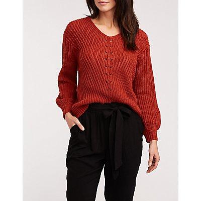 V Neck Ribbed Pullover Sweater