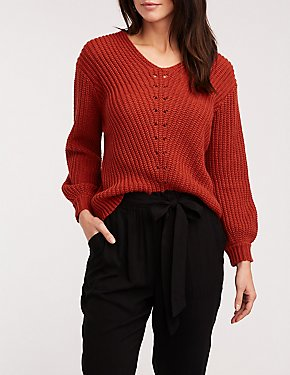 V Neck Ribbed Pullover Sweater
