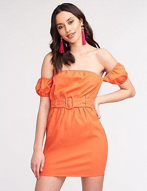 Off The Shoulder Belted Bodycon Dress