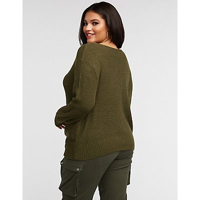 Plus Size Front Twist V Neck Pullover Sweater