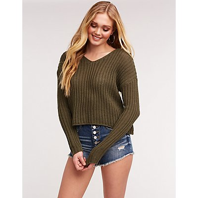 Open Knit Pullover Sweatshirt