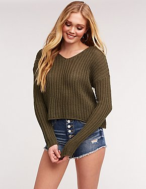 Open Knit Pullover Sweatshirt