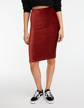 Corduroy Midi Bodycon Skirt