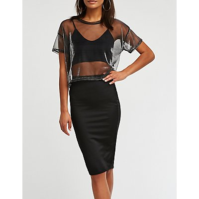 Metallic Midi Bodycon Skirt