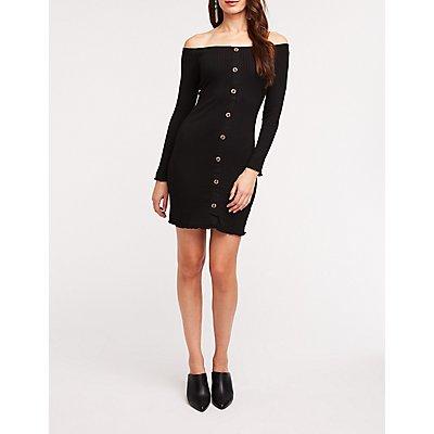 Off The Shoulder Button Front Dress
