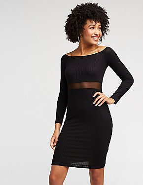 Off The Shoulder Mesh Inset Dress