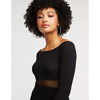Off The Shoulder Mesh Inset Bodycon Dress