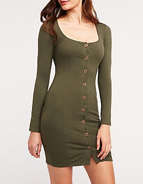 Square Neck Button Front Dress