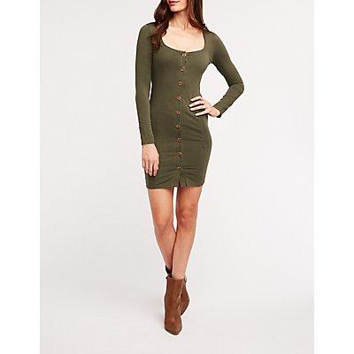 Square Neck Button Front Dress