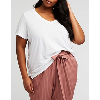 Plus Size V Neck Boyfriend Tee