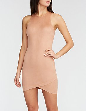 Faux Suede Zipper Bodycon Dress