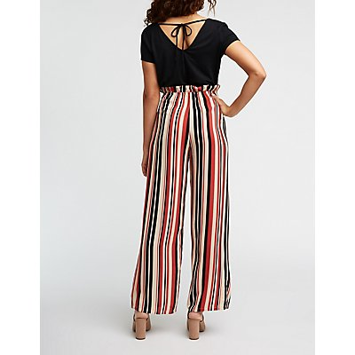 Paperbag Striped Jumpsuit