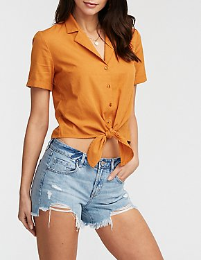 Collar Button Up Tie Front Blouse