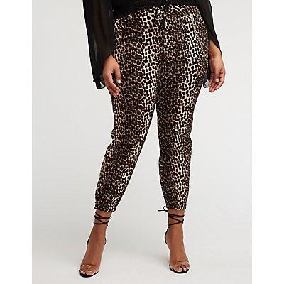 Plus Size Leopard Chain Link Joggers