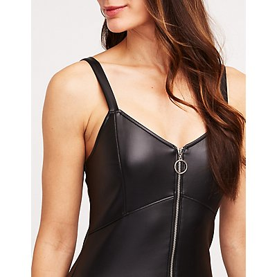 Faux Leather Zip Up Bodycon Dress