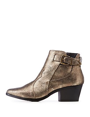 Qupid Metallic Western Ankle Booties