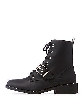 Qupid Studded Lace Up Combat Boots