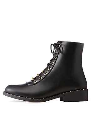 Qupid Metal Lace Up Combat Boots