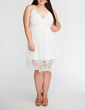 Plus Size Crochet Shift Dress