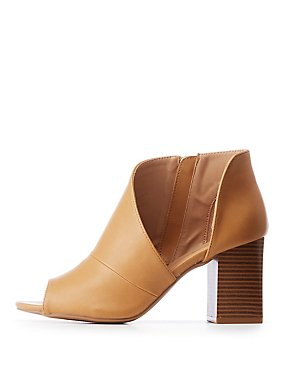 Qupid Cut Out Peep Toe Booties