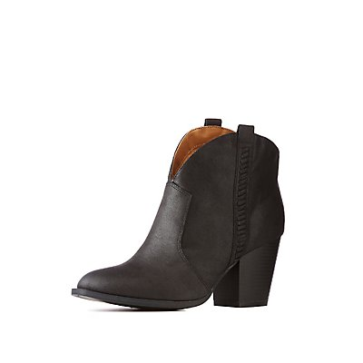 Western Faux Leather Ankle Booties