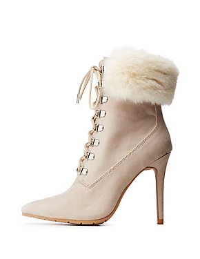 Faux Fur Pointed Toe Booties