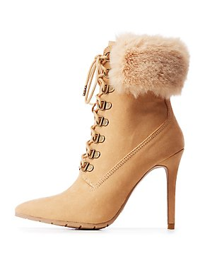 Qupid Faux Fur Pointed Lace Up Booties