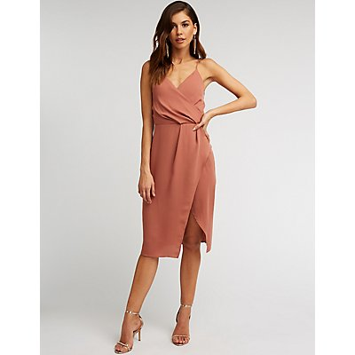 Surplice Wrap Midi Dress